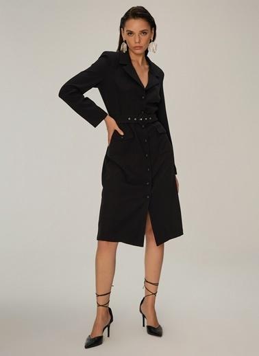 NGSTYLE Ceket Yakalı Elbise Siyah